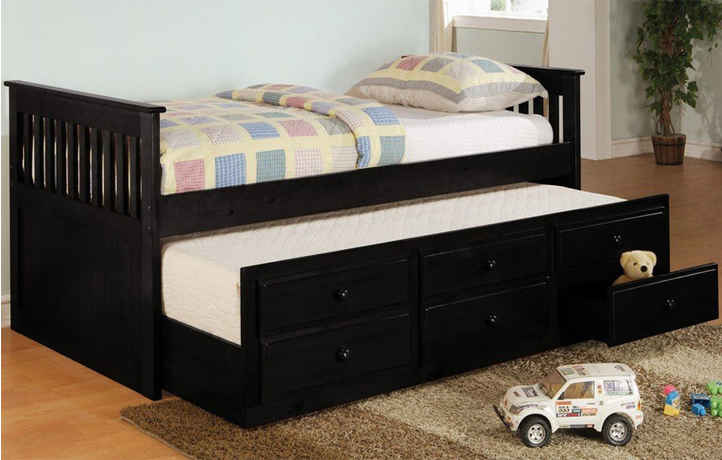 Coaster black Daybed with Trundle Mission Style